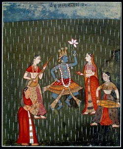 Krishna and Radha dancing in the rain with three girl musiciansRajasthan, 17th c.