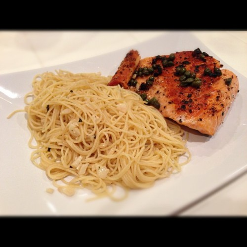 Salmon paired with garlic butter pasta (Taken with Instagram)