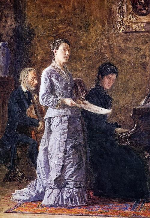 The Pathetic Song by Thomas Eakins, ca 1881 US, private collection This study photo is kept in the Pennsylvania Academy of the Fine Arts.  You can see the painting on the right.