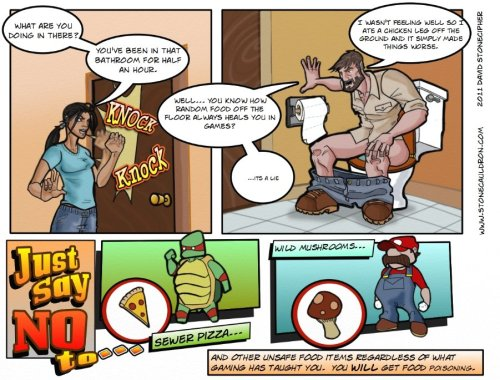 Here's your sunday comic.  Why are food power-ups always laying out on the ground and not in packages?  Also, potty jokes are funny!