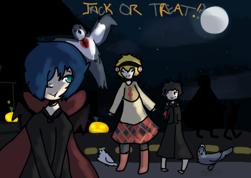 my sidebar image for my blog iT HAS THE PERSONAS AND THE HATOS BECAUSE???? i like both a lot.  spooky