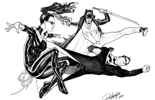 hellyeahsupermanandwonderwoman:  Superman, Wonder Woman and Batman as Neo, Trinity and Morpheus by Arzeno