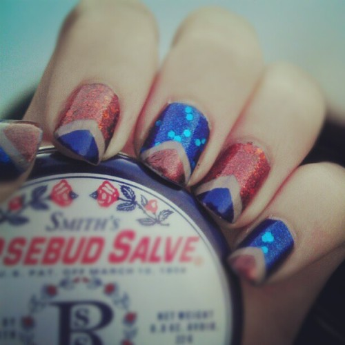 New nails. Navy and rust v-tips. #rust #navy #notd #glitter #butterlondon #vtip (Taken with Instagram)