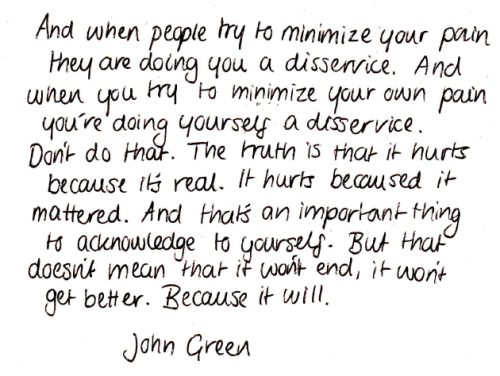 oh man…. well said my man.. Love John Green