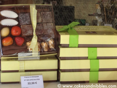 C&N TraveLog:  Nice, France (June 2012)  DeNeuville Chocolatier had some amazing gift boxes with nougats, calissons and orangettes.