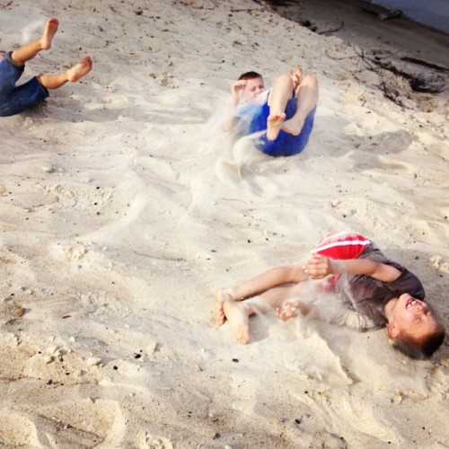 My 3 boys doing backwards summersaults down the big sand beach. Too fun. (Taken with Instagram at White Sand Beach)