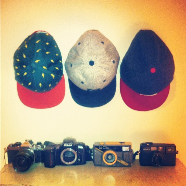 flat bills & film cameras (cc: @bluemarlinco) (Taken with Instagram)
