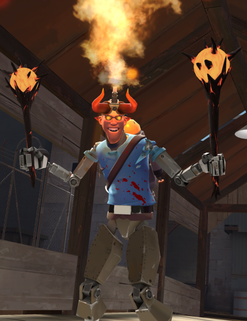 More damn TF2 Freaks without videos, though I could very damn well whip up an overly detailed backstory given the chance!! I think I will…!  This damnably caliente Scout-freak is part-Bostonian, part-robot, part-demon, part-Pyro, all sadistically sinful! He came from an Engineer's experiment involving dimensional travel that literally unleashed hell. From that accident, a demon fused with a scrapped Scout-bot, giving it a human-like face, albeit marred with horns. He dual-wields Suns-on-Sticks and can shoot fire from the pipes on his head, though this is incredibly draining for him. The tank on his back stores fuel for his fire, and should he run out, he'll lose power and die slowly. In order to stay alive, he must drink molten metal every few days, which also repairs his metal systems. His goal in life is to gain enough power to transform into his archdemon form. Though no man has seen it yet, he claims it to be the biggest, strongest, most powerful monster form in the underworld. Whether or not this is true remains to be seen, as he's usually not much of a threat save for his super-speed and flame-throwing.  Don't mind me, I was trying to whip up a giant Engineer robot akin to those featured in this epicsauce video, but I got overwhelmed by the task (ALL THOSE MECHANICAL PIECES!) and started to muck around with merging the merc-bots to things instead. This is the result.