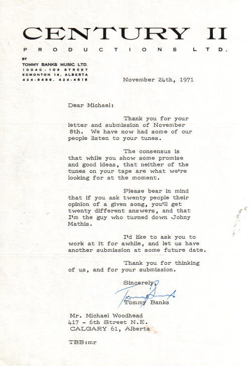 1971 - Rejection Letter from Tommy Banks