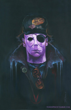 "*SOLD* My piece for Ltd. Gallery's Tribute to B-Movies. ""Carpenter"", 7 of John Carpenter's films combined. 11x17"" acrylic on illustration board. http://www.facebook.com/toddspenceart"