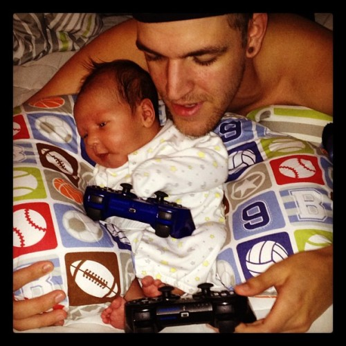 Kevin and Tristan playing NCA 🎮🏀👦💙👶 (Taken with Instagram at Batcave)