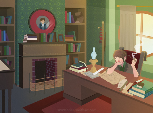 "brianjsmithart:  ""Bilbo in his study"" by Brian J. Smith  Finally! It's done! I've been working on this for a couple weeks and finally I get to share it!"