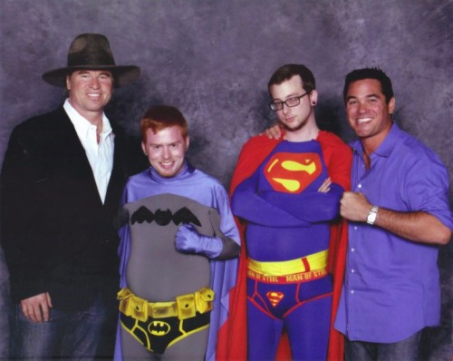 the-champs-hat:  lets talk about the fact that dean cain is being super dominant in this picture. Not only is that an iron grip on my shoulder but that push on my side was actually digging in before the picture was taking….and he's biting his lip while grinding on me… mr dean wanted to make a man out of me, i think…  This is hilarious and awesome on several levels.