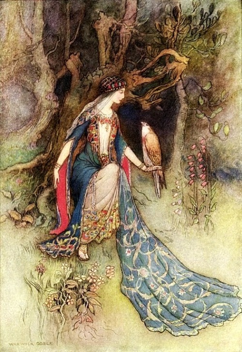 thefaeriefolk:   The Princess and the Falcon by Warwick Goble