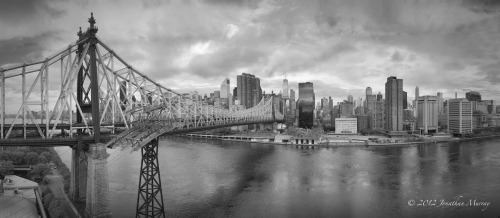 B&W #panorama of Queensboro Bridge, NY. Shot with @PhaseOne Achromatic+ Back and Seitz Roundshot VR Drive.