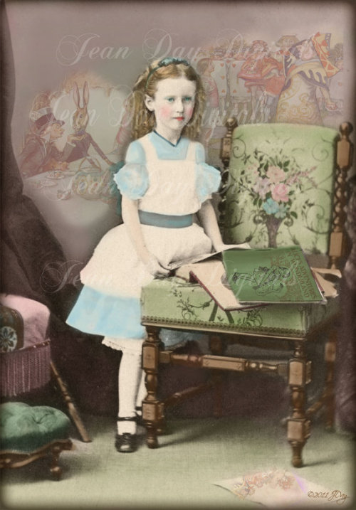 Alice In Wonderland - Halloween Costume - 1860's atered photo scan Antique image Collage by Jean Louise Day.