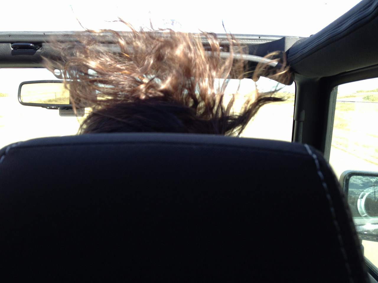 even amber's hair was having a good time in the jeep today.