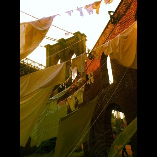 Hanging Out #brooklyn #bridge #laundry #clothes #lines #brick #wall #american #flag #dumbo #nyc #lady_birdseyeview  (Taken with Instagram)