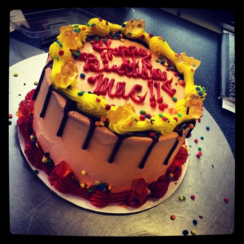 #work #cake #art #fun #orderup #thanks #orange #yellow #red #sprinkles #chocolate #bears #happybirthday #br #baskin #robbins  (Taken with Instagram at Baskin-Robbins)