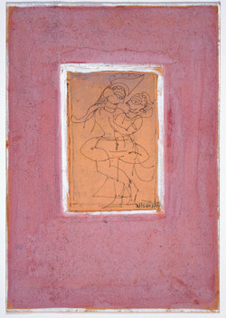 Krishna and Radha Dancingby Jamini Royink and opaque watercolour on paperc. 1950