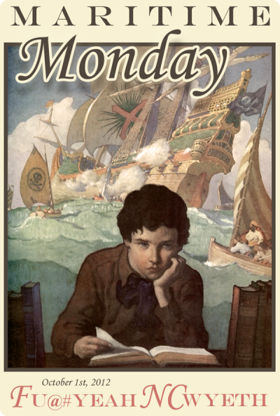 "Maritime Monday for October 1, 2012:Fu@# Yeah NC Wyeth; Books and Beer  Miss Monkey enjoyed a few tasty beers this past weekend; products of Clipper City Brewing Company in Baltimore. It's been a long time since Miss Monkey has taken a swig, exclaimed ""WOW, who made this?"" and pulled the bottle sufficient distance from her eyeballs to read the tiny print. Check for availability in your area and go get some.  If your local craft-brew retailer doesn't carry it, fuss at them.  It's worth it. Pyrate Fleet""An array of year-round and seasonal beers, the Pyrate Fleet showcases our renditions of robust beer styles."" Heavy Seas Beer on Wikipedia and BeerAdvocate A heartfelt thanks to whomever left them on sailing-friend Carl's boat.  Good stuff."