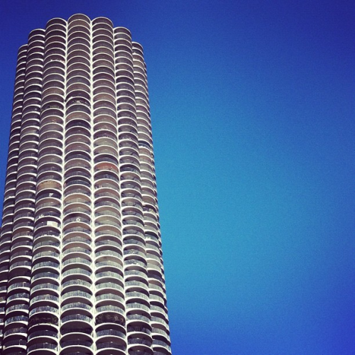 One half of Chicago's architectural gem Marina City (AKA The Corncob Buildings) by Bertrand Goldberg.