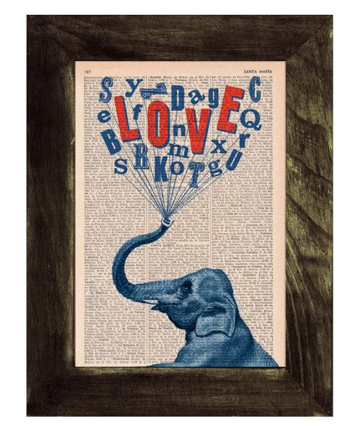 betype:   Elephant in love book print Elephant