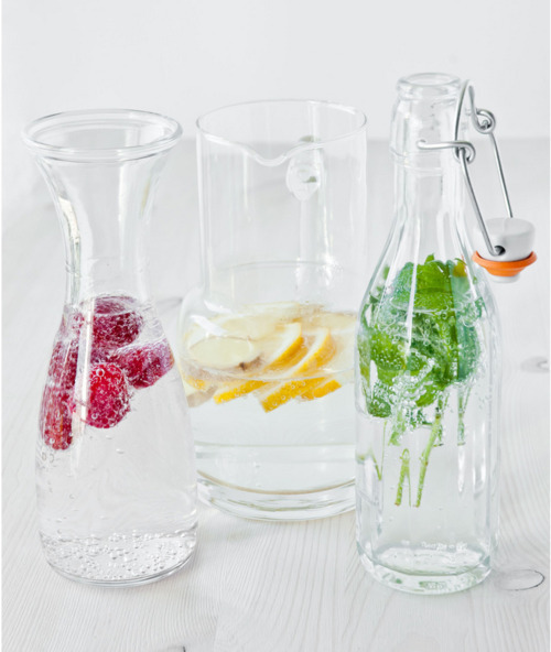 itstheskinny:  flavor your water with fruits or herbs instead of drinking sodas, sweet tea, or other beverages with added sugar, chemicals, etc. don't drink your calories!