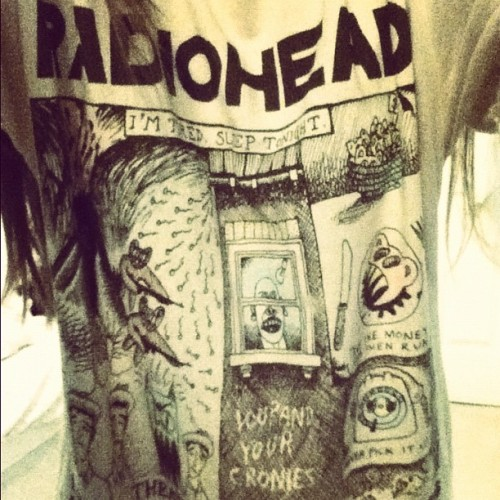 Wore my #radiohead #shirt #today not the best angle #love #karmapolice #highanddry #nosurprises (Taken with Instagram)