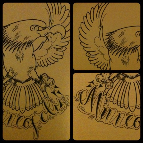 Finished? #Minneapolis #motorcycle #eagle #tattoo #tattooflash #script (Taken with Instagram)