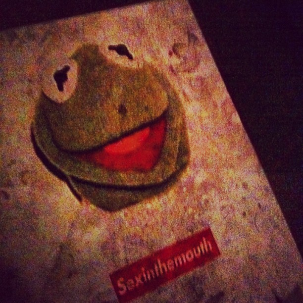 SEX IN THE MOUTH. Kermie tells all. @nikkixmas you'll love this. #urbanart #muppets  (Taken with Instagram)