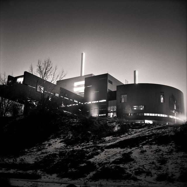 "Glowing Guthrie Theater on Flickr.Yashica Mat LM | Fuji Acros 100 | Rodinal (1:100)   I'm constantly rediscovering why I really love medium format film cameras. Not only are they quirky (looking at you Holga and Yashica), but they deliver some beautiful negatives. I've been going through my ""archives"" of the past few months and seeing if any negatives jumped out at me that I might've overlooked previously. This one definitely did. As the past year has gone by and my photography (including my digital darkroom skills!) has progressed, I can see more in an image than I could actually do in the past. In other words, my final product can now more closely match what I saw in the image in the first place. I'm excited to see what I can do in year 2 of this photography affliction…"