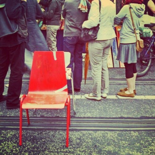The Red Chair     #Berlin #Germany #red #artmarket #market #art #Berlinlife #stilllife #berlinstagram #peoplewatching #summer  (Taken with Instagram)