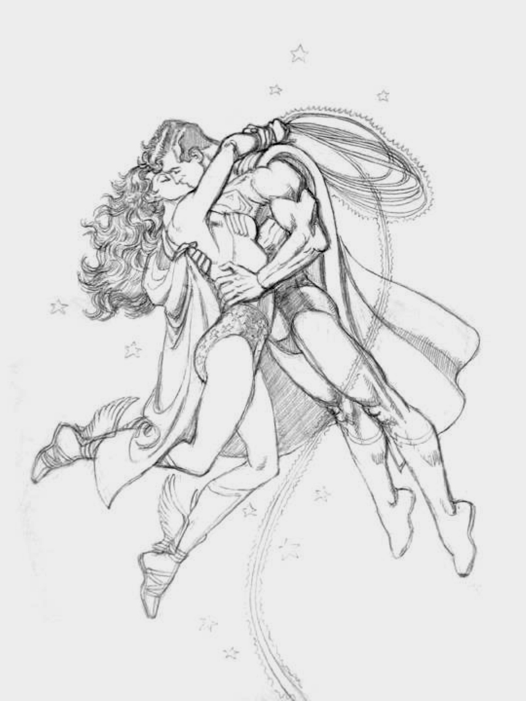 godstaff:  Wonder Woman and Superman kissing by J.L. García López  Yet another kiss. Back when she wore Hermes' sandals to fly.