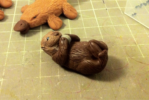 Putting the finishing touches on the very first little sea otter Xmas ornament.