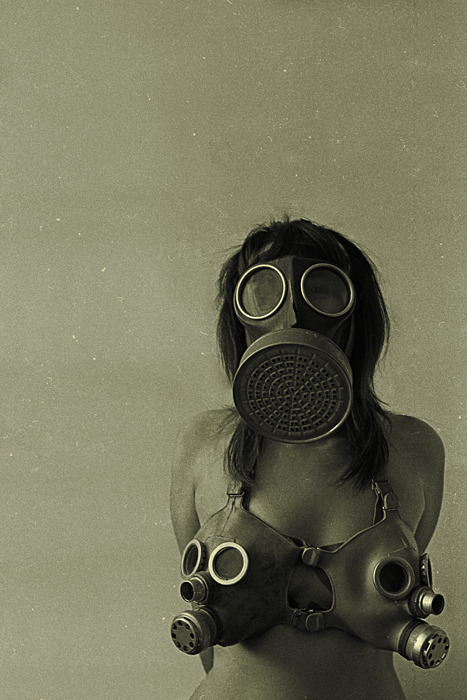 Working on gasmasks all day for an upcoming fashion show.  This seemed appropriate.
