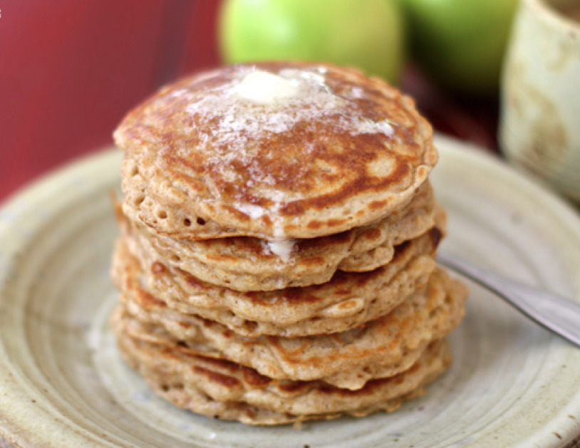 apple pancakes with caramel buttermilk syrup