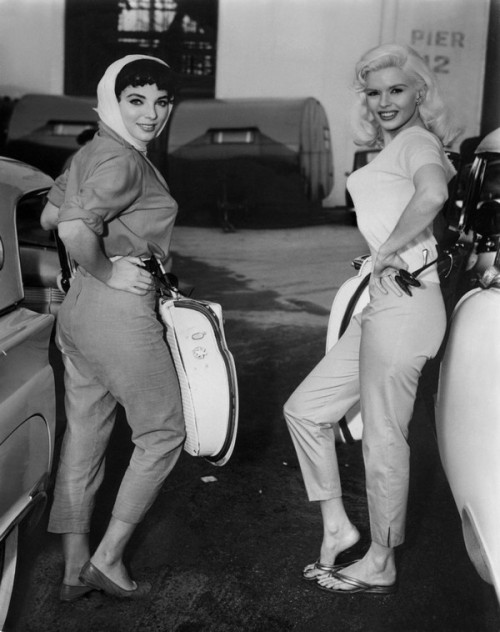 theniftyfifties:  Joan Collins and Jayne Mansfield ready to drive.
