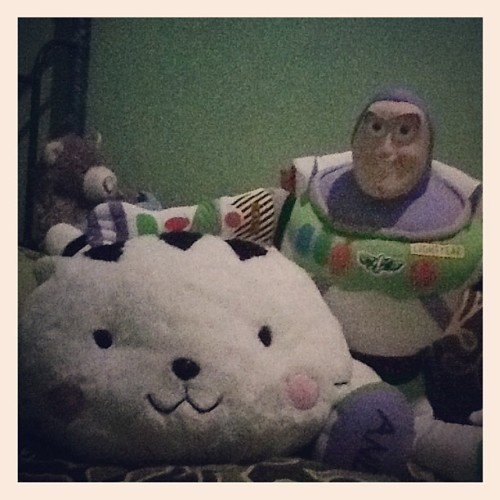 Look how cute they are :3 #buzzlightyear #cat #doll #instagram (Taken with Instagram)