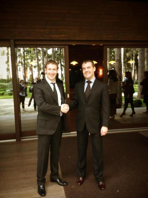 Mark Zuckerberg with the Russian prime minister, Dmitri Medvedev.