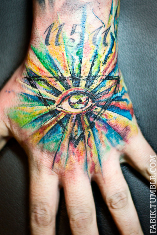 fuckyeahtattoos:  ..did my first allseeing eye on my first hand.. double fun! and a very funny patient :)