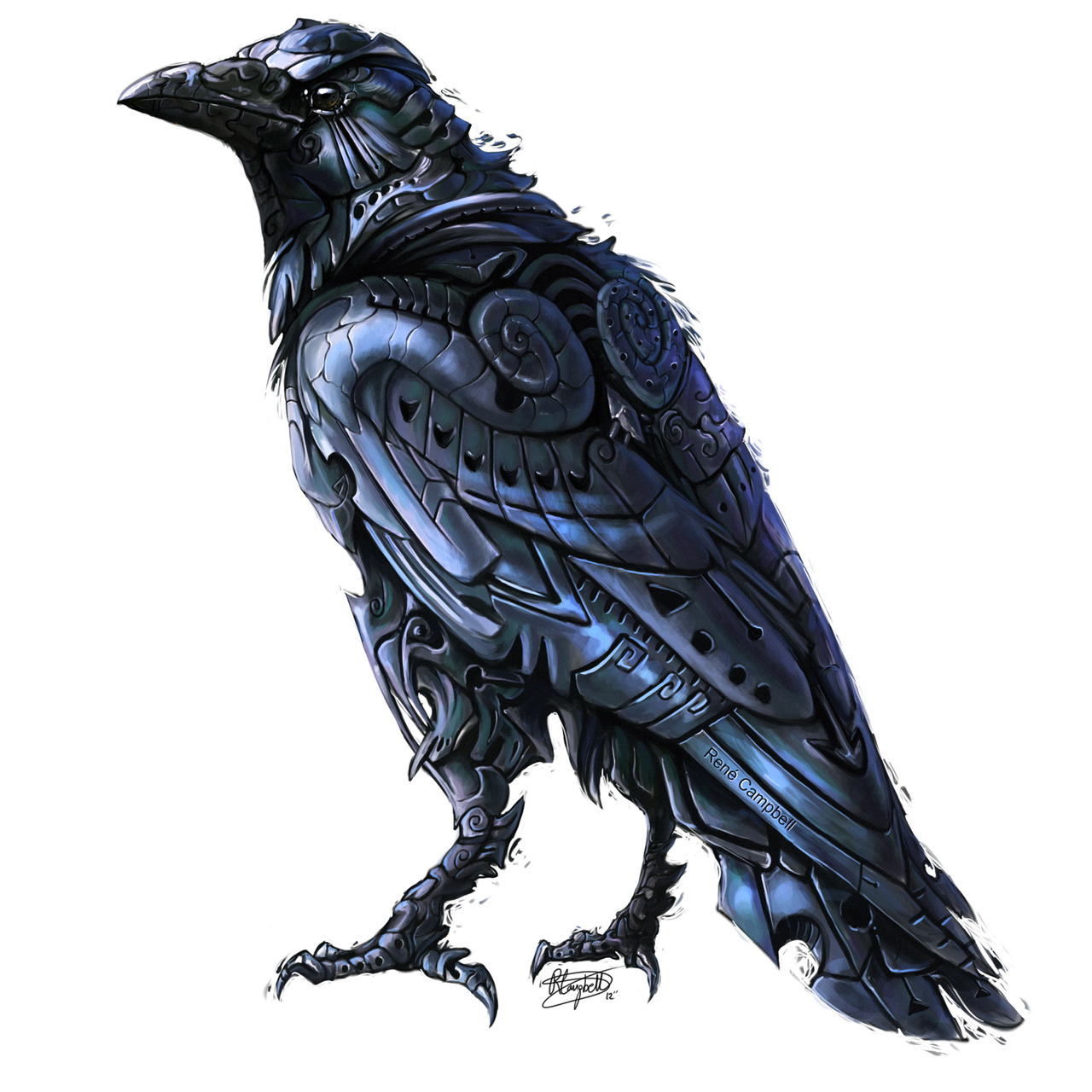 rene-art:  DeviserIllustrative interpretation of the Crow; this time with some digital colour! Got a bit lazy with it but it will do!Photoshop CS5 | Wacom Intuos 4 | App. 5-6 Hours.