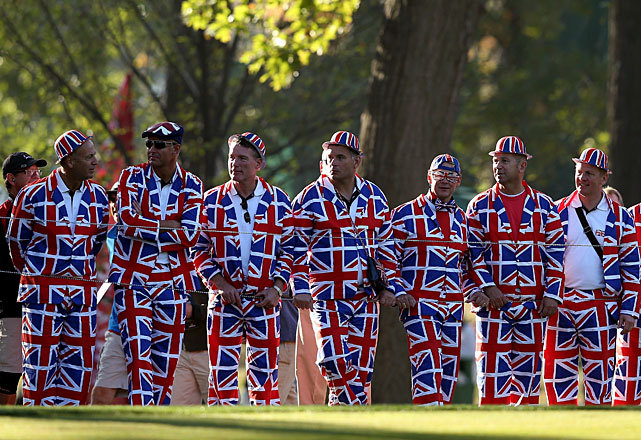 These British golf fans have an extra spring in their step today after yesterday's epic Ryder Cup finale. The European team erased a 10-6 deficit on the final day and came away with a 14.5-13.5 victory. The victory helped erase the memories of their own final day collapse in 1999. (Andy Lyons/Getty Images) MORFIT: Europe wins with historic Sunday rallyGALLERY: Sunday's best photos | Ryder Cup fans