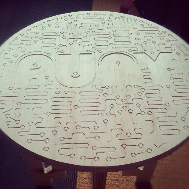 Wooden stool top Joe made over the weekend with his CNC machine.  - Andrew (Taken with Instagram)
