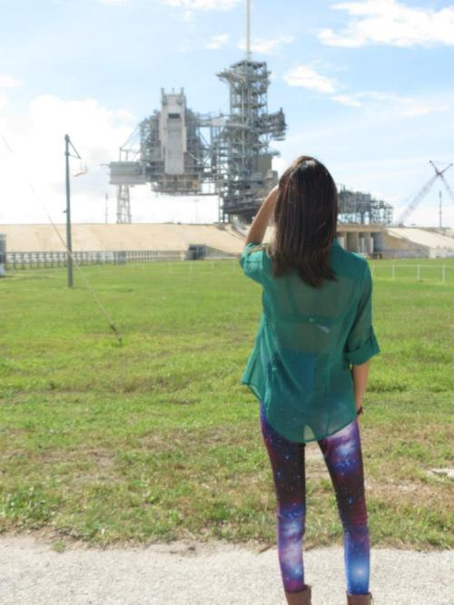 Hey. This is me. In me galaxy leggings. And at a space shuttle launch pad. How lovely…