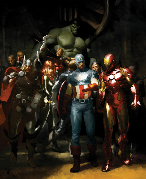thelastinterceptor:  capscrotch:  comicbookartwork:  The Avengers by Gerald Parel  oh my god the art history student inside me is dying because   The Nightwatch by Rembrandt  OOOOOH