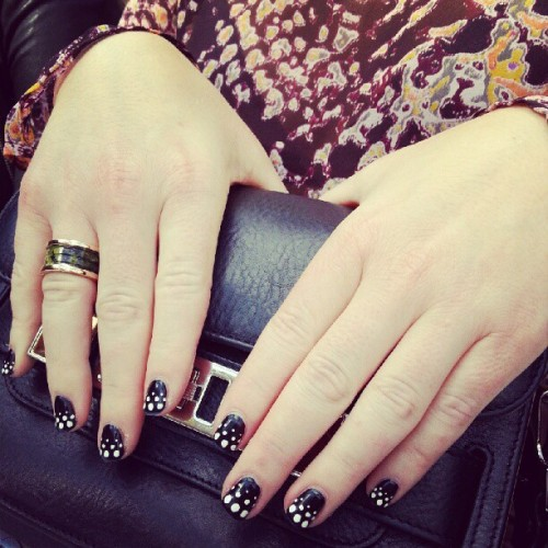 Spotted (literally) on WhoWhatWear's Hillary Kerr: dotty Wahnails and a chic Bulgari ring