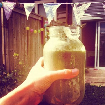 #morning #smoothie - #banana #greens #chia #protein #hemphearts #dates #almonds  (Taken with Instagram at Secret Garden)