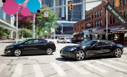 2012 Chevrolet Volt vs. 2012 Fisker Karma EcoSport: EV vs. EV underdog comparison test. via Car and Driver