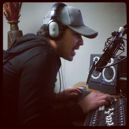 doing his thang #radio @marvinmolina007 #headphones #music #black #armani #sennheiser (Taken with Instagram)